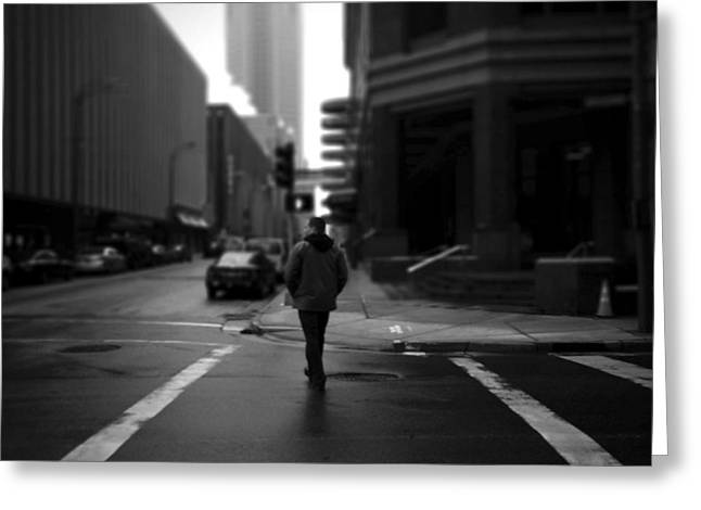 Crosswalk Greeting Cards - Crossing Stranger Greeting Card by Henry Lohmeyer