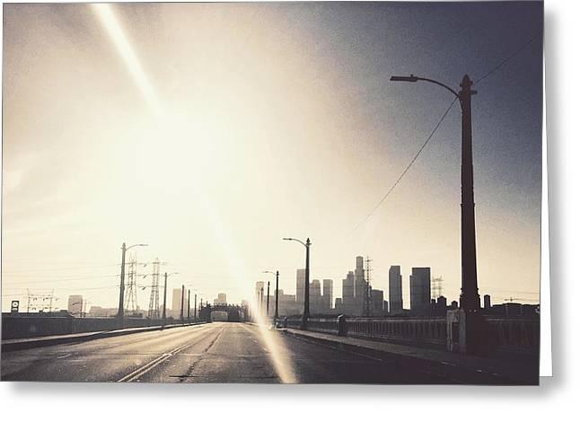 Crossing The 6th Street Bridge Greeting Card by Maureen J Haldeman