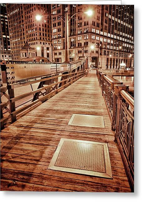 White River Scene Digital Art Greeting Cards - Crossing The Bridge Greeting Card by Donald Schwartz