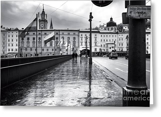 Art In Salzburg Greeting Cards - Crossing the Bridge in Salzburg Greeting Card by John Rizzuto