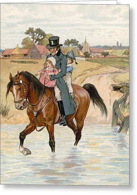 Father And Son Greeting Cards - Crossing the Brook Greeting Card by English School