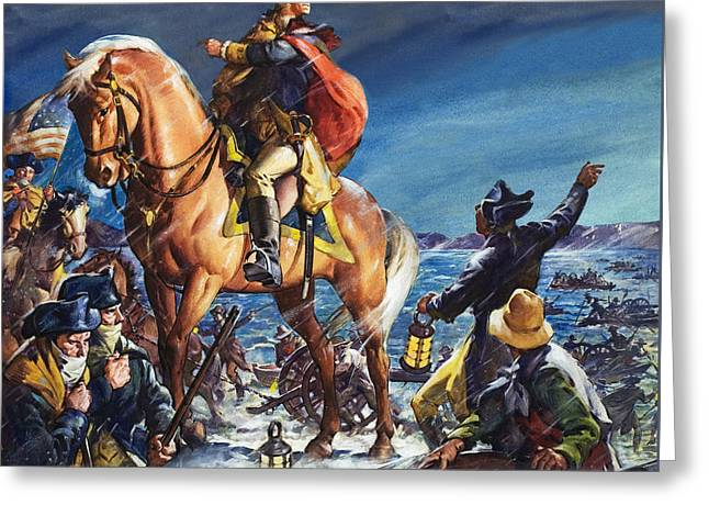 Animal Flag Art Greeting Cards - Crossing the Delaware River on Christmas Night Greeting Card by James Edwin McConnell