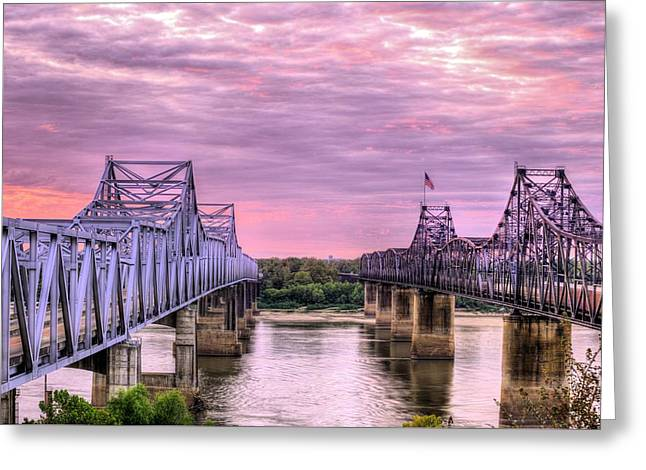 Crossing The Mississippi Greeting Card by JC Findley
