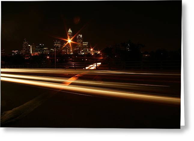 Charlotte Digital Art Greeting Cards - Crossing the street at Night Greeting Card by Suzanne L Kish