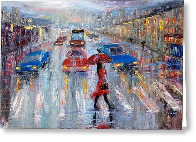 Crossing The Street Greeting Card by Boyan Dimitrov