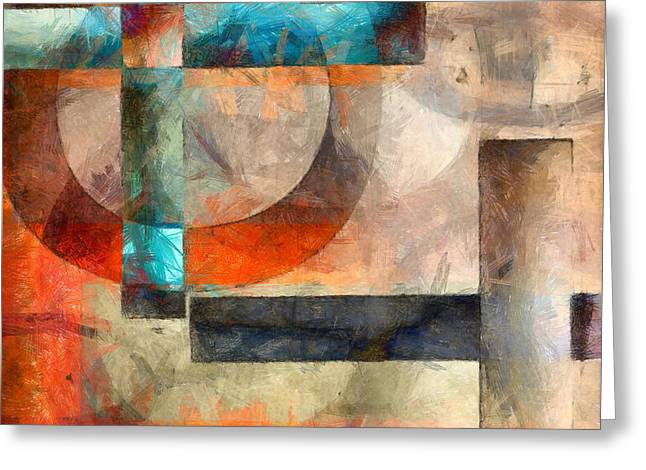 Layers Greeting Cards - Crossroads Abstract Greeting Card by Edward Fielding