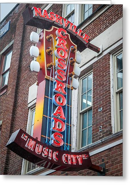 Nashville Tennessee Greeting Cards - Crossroads Neon Greeting Card by William Krumpelman