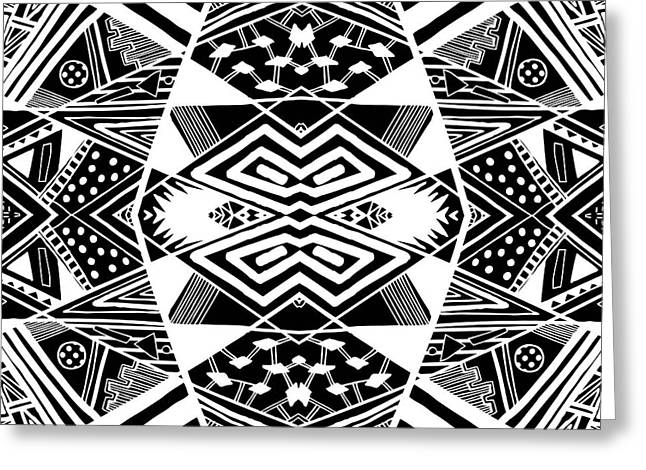 Geometric Artwork Drawings Greeting Cards - Crossroads To Ornamental - Abstract Black And White Graphic Drawing Greeting Card by Nenad  Cerovic