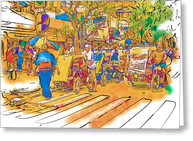 Crosswalk in the Philippines Greeting Card by Rolf Bertram