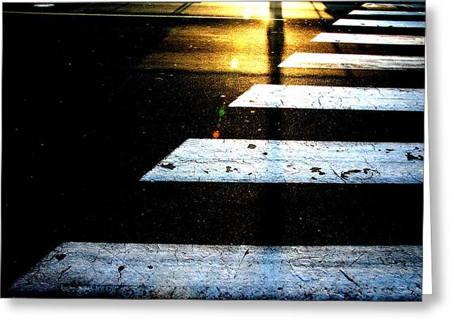 Urbam Greeting Cards - Crosswalk Greeting Card by Kreddible Trout