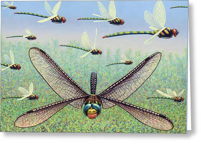 Dragonflies Greeting Cards - Crossways Greeting Card by James W Johnson