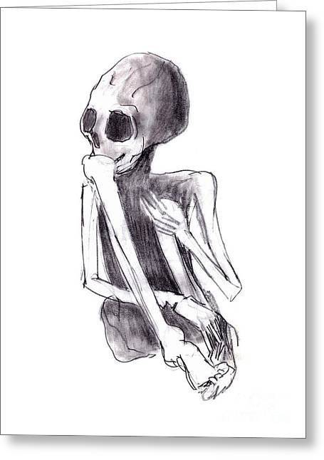 Creepy Drawings Greeting Cards - Crouched Skeleton Greeting Card by Michal Boubin