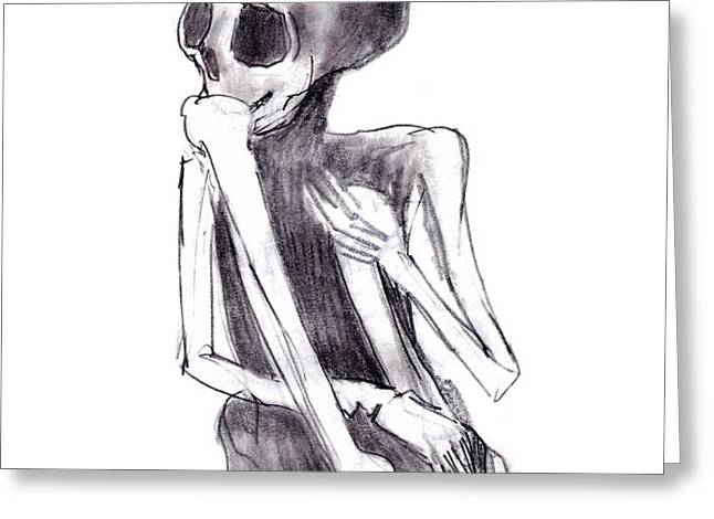 crouched skeleton Greeting Card by Michal Boubin