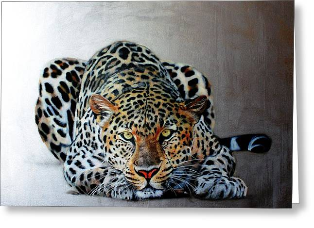 Crouching Leopard Greeting Card by Susana Falconi