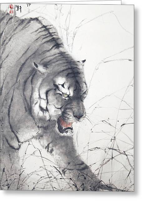Chinese Tiger Greeting Cards - Crouching Tiger Greeting Card by ChiKeung Lo