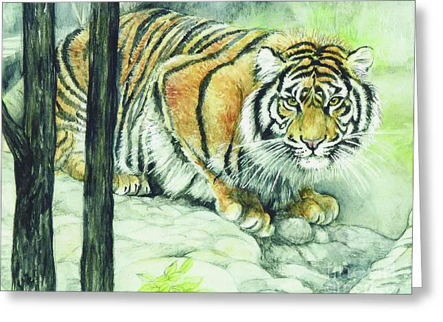 Crouch Greeting Cards - Crouching Tiger Greeting Card by Morgan Fitzsimons