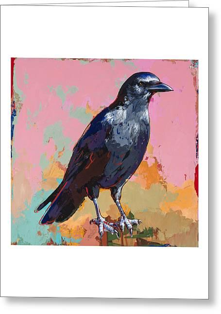 Raven Greeting Cards - Crow #3 Greeting Card by David Palmer