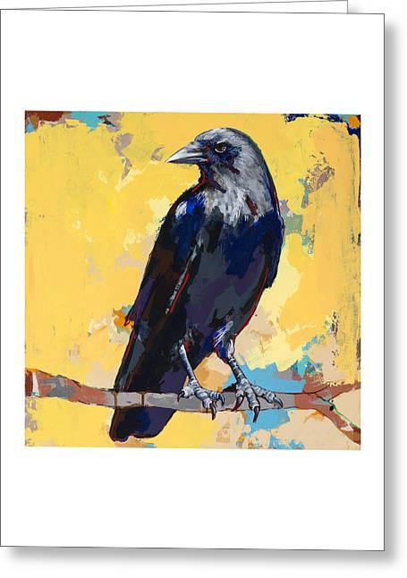 Raven Greeting Cards - Crow #4 Greeting Card by David Palmer