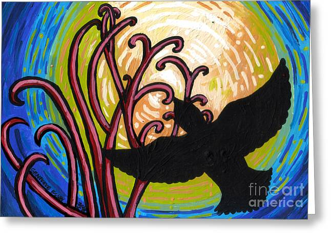 Two Crows Greeting Cards - Crow and Full Moon in Winter Greeting Card by Genevieve Esson