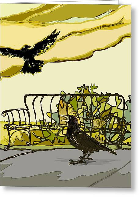 Wacom Greeting Cards - Crow Calling Greeting Card by Peggy Wilson