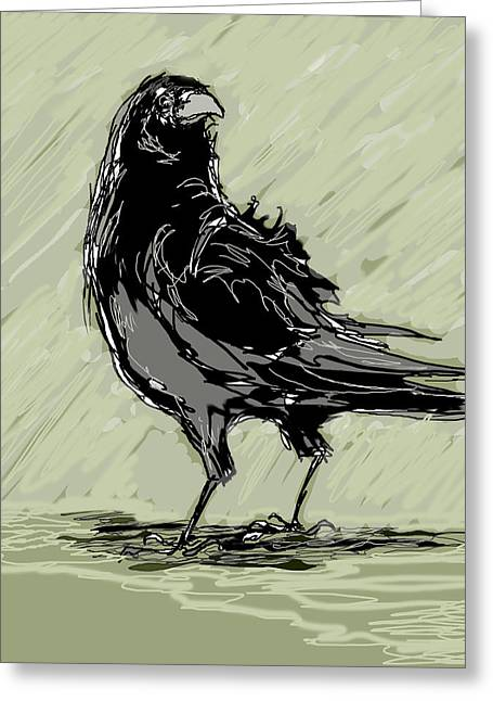 Wacom Greeting Cards - Crow in Rain Greeting Card by Peggy Wilson