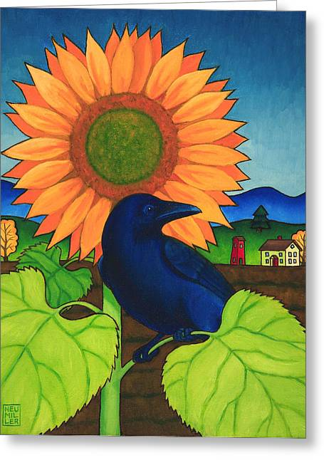 Crows Greeting Cards - Crow in the Garden Greeting Card by Stacey Neumiller
