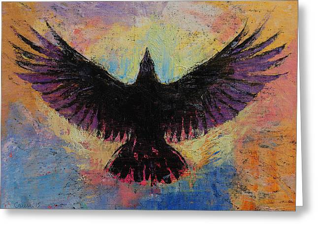 Crow Paintings Greeting Cards - Crow Greeting Card by Michael Creese
