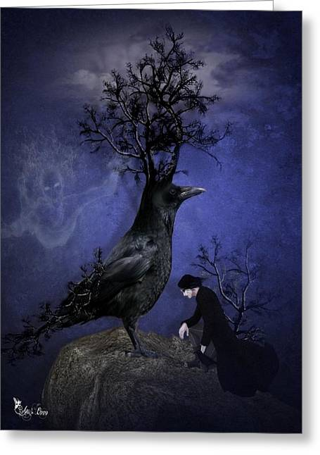Fantasy Tree Greeting Cards - Crow Of Branches Greeting Card by Ali Oppy
