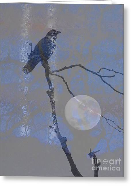 Abstract Style Greeting Cards - Crow Perched Greeting Card by Robert Ball