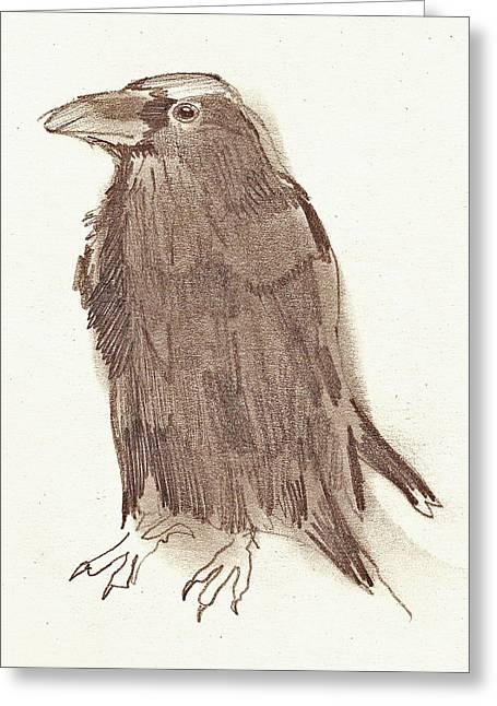 Crow Greeting Card by Sarah Lane