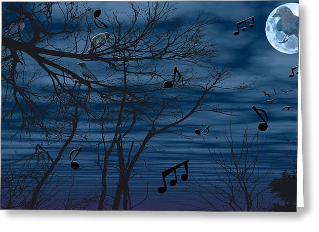 Crow. Bird Music Greeting Cards - Crow sings at midnight Greeting Card by Evelyn Patrick