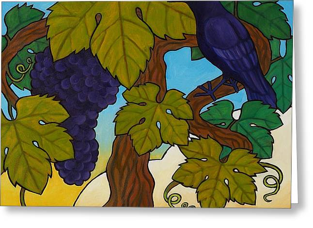 Crow with Wine on the Vine Greeting Card by Stacey Neumiller