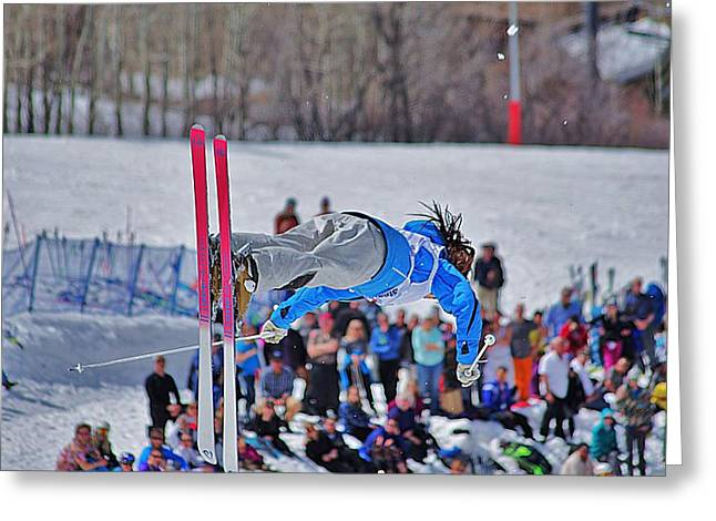 Freestyle Skiing Greeting Cards - Crowd Awaiting Greeting Card by Matt Helm