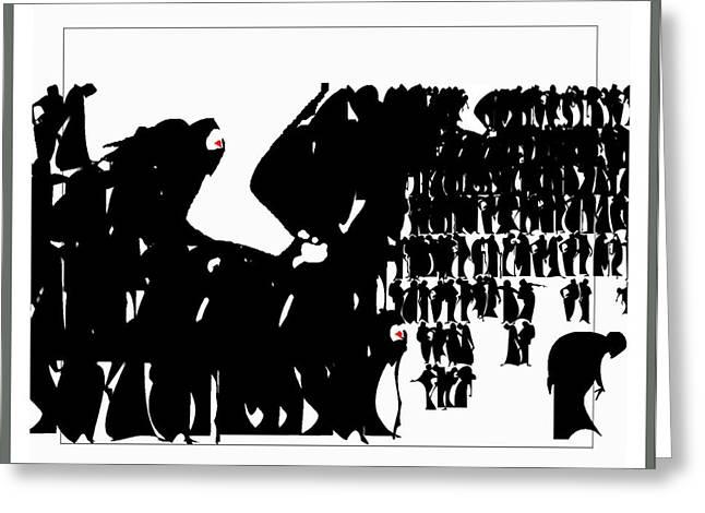 Abstract Digital Drawings Greeting Cards - Crowd Greeting Card by Olena Kulyk
