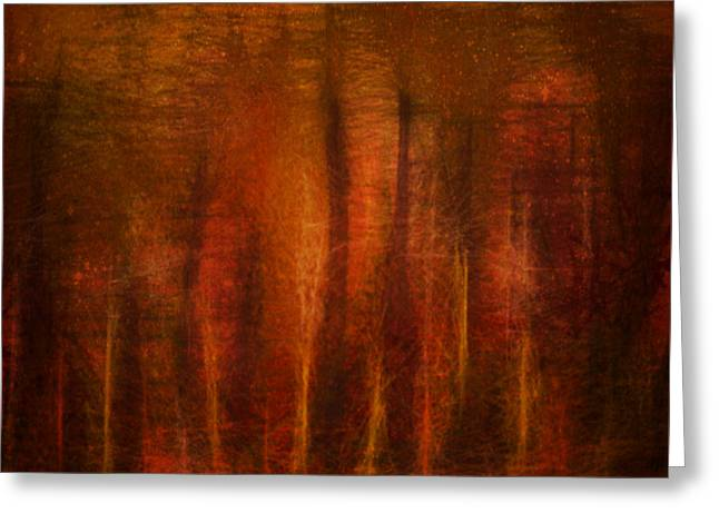 Warm Tones Greeting Cards - Crowded Forest Greeting Card by Aurora Art
