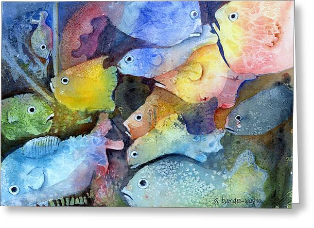 School Of Fish Greeting Cards - Crowded Space Greeting Card by Arline Wagner