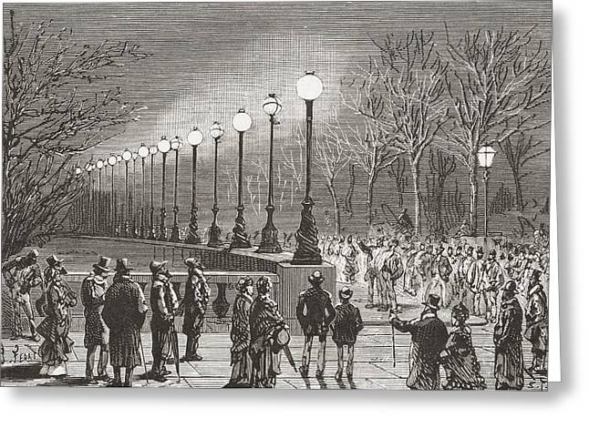 Crowds Admiring The Electric Lights Greeting Card by Vintage Design Pics