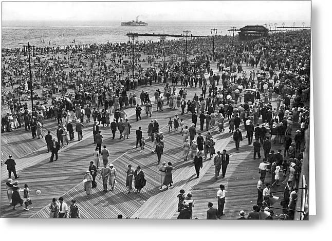 York Beach Greeting Cards - Crowds at Coney Island Greeting Card by Underwood & Underwood
