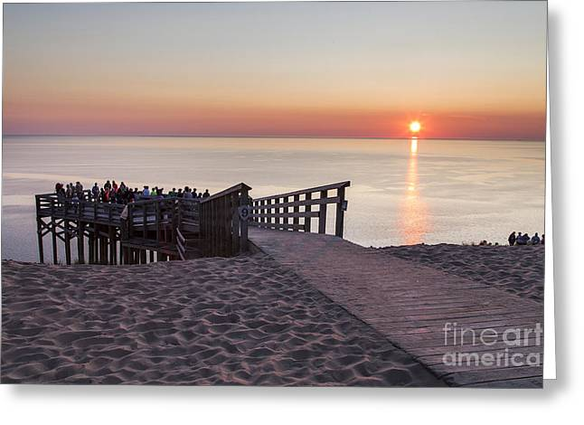 Scenic Drive Greeting Cards - Crowds at Sunset at Sleeping Bear Dunes Greeting Card by Twenty Two North Photography