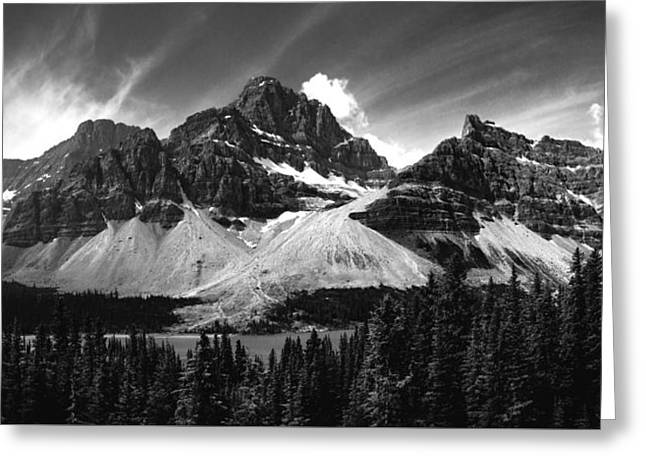 Mountains And Lake Greeting Cards - Crowfoot Mountain - Black and White Greeting Card by Cale Best