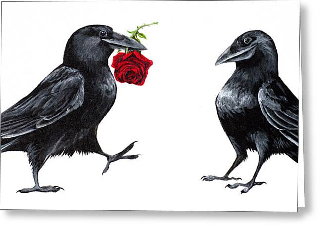 Crow Paintings Greeting Cards - Crowmance Greeting Card by Beth Davies