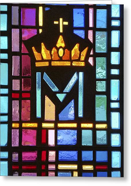 Religious Greeting Cards - Crown and Cross Stained Glass Greeting Card by Sally Weigand