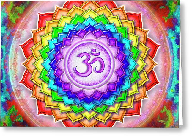Crown Chakra - Rainbow Lotus Series 5  Greeting Card by Dirk Czarnota