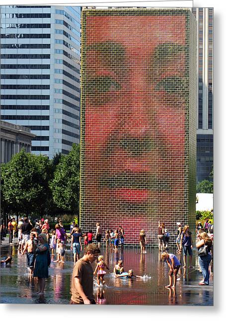 Best Sellers -  - Installation Art Greeting Cards - Crown Fountain Chicago Greeting Card by Frank Winters