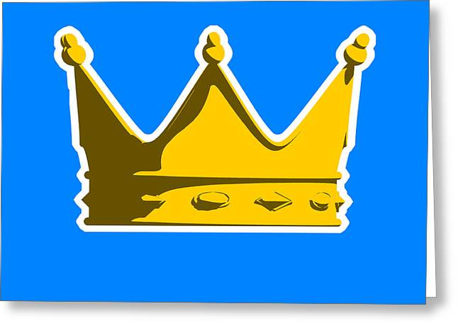 English Greeting Cards - Crown Graphic Design Greeting Card by Pixel Chimp