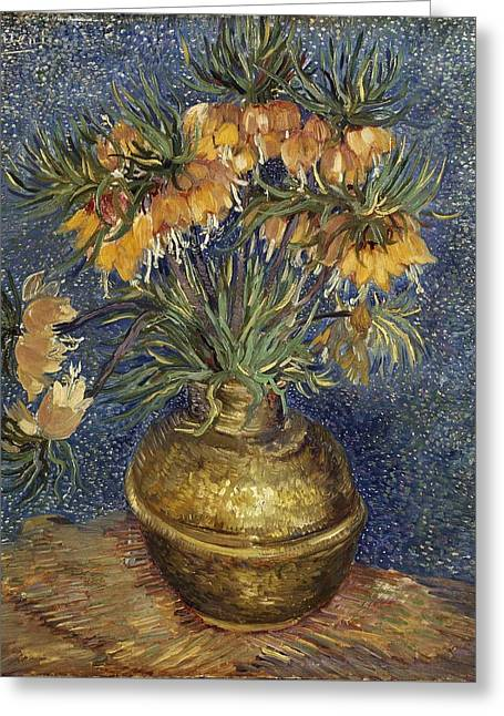 Vincent Van Gogh Greeting Cards - Crown Imperial Fritillaries In A Copper Vase Greeting Card by Van Gogh