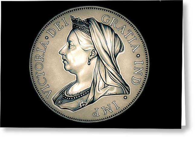 Silver Coins Greeting Cards - Crown Queen Victoria Greeting Card by Fred Larucci