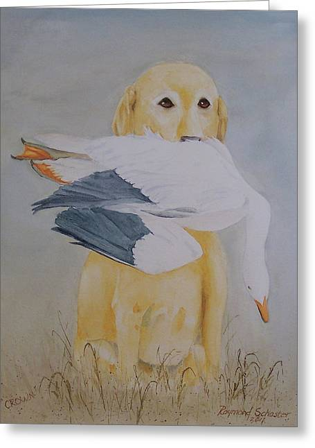 Snow Geese Paintings Greeting Cards - Crown Greeting Card by Raymond Schuster