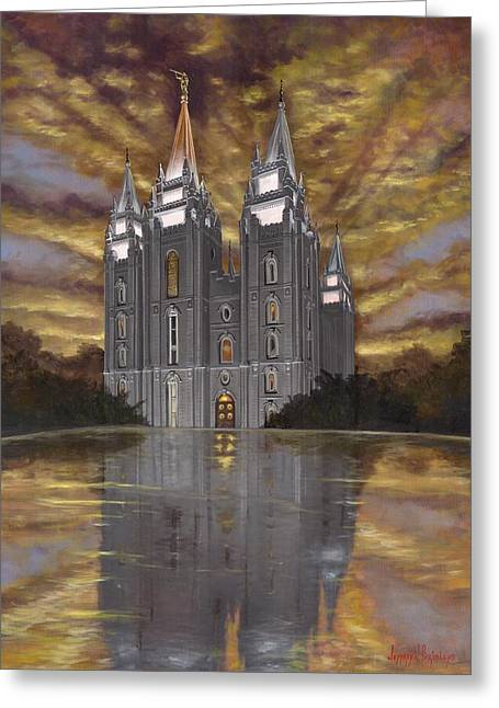 Salt Lake Temple Greeting Cards - Crowned with Glory Greeting Card by Jeff Brimley