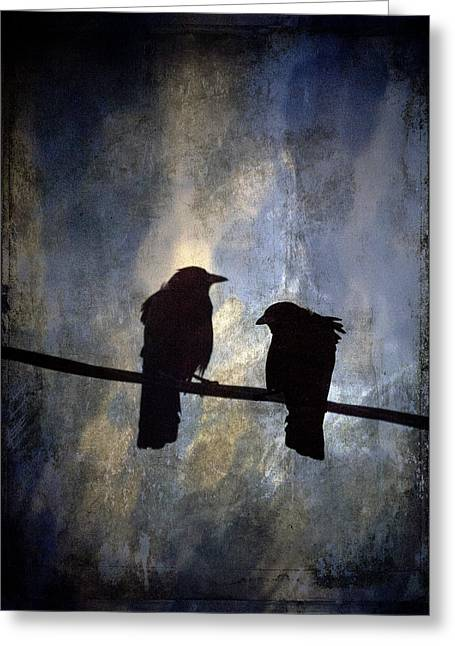 Crow Greeting Cards - Crows and Sky Greeting Card by Carol Leigh